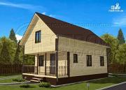 Фото: дом 6х8 м из бруса с террасой