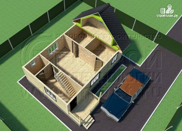Фото 4: проект дачный трёхфронтонный дом 6х9 м из бруса