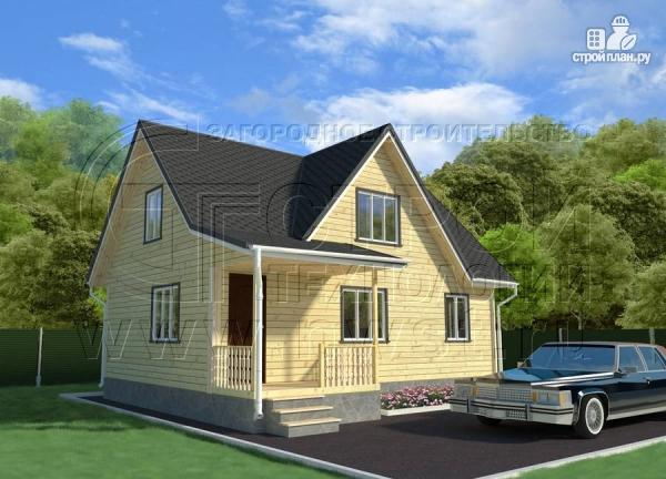 Фото: проект дачный трёхфронтонный дом 6х9 м из бруса