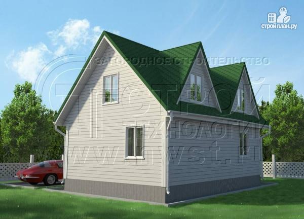 Фото 2: проект дом 6х8 м с мансардой и мезонинами