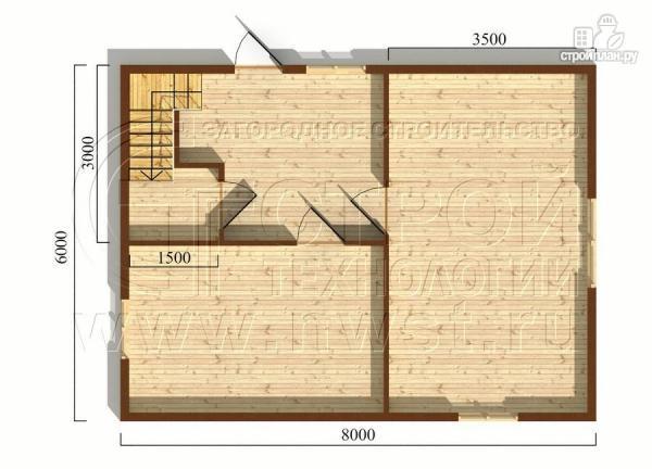 Фото 5: проект дом 6х8 м с мансардой и мезонинами