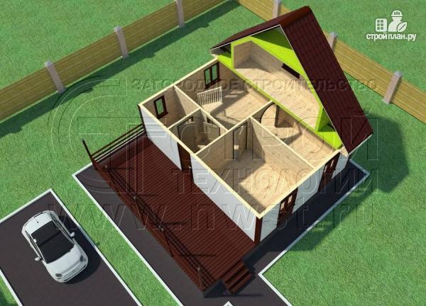 Фото 4: проект дом 6х8 м с мансардой и террасой 24 м2