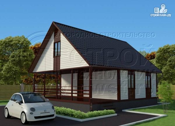 Фото: проект дом 6х8 м с мансардой и террасой 24 м2