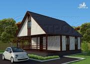 Проект дом 6х8 м с мансардой и террасой 24 м2