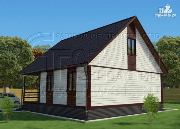 Фото 2: проект дом 6х8 м с мансардой и террасой 24 м2