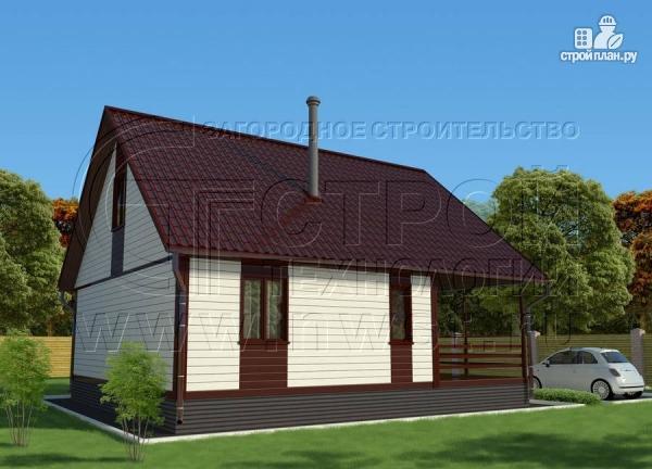 Фото 3: проект дом 6х8 м с мансардой и террасой 24 м2