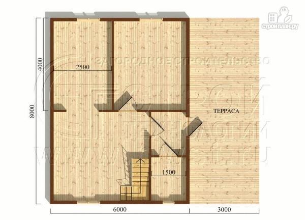 Фото 5: проект дом 6х8 м с мансардой и террасой 24 м2