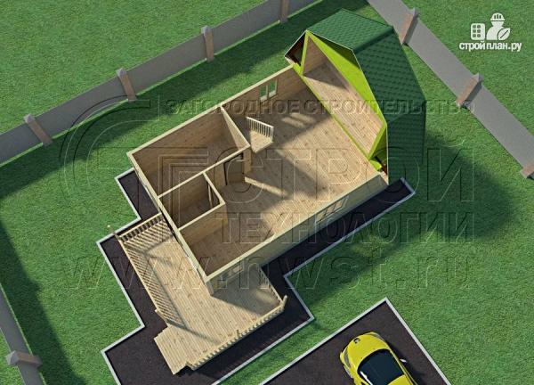 Фото 4: проект дачный дом 6х9 м с мансардой и Г-образной террасой