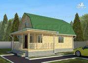 Проект дачный дом 6х9 м с мансардой и Г-образной террасой