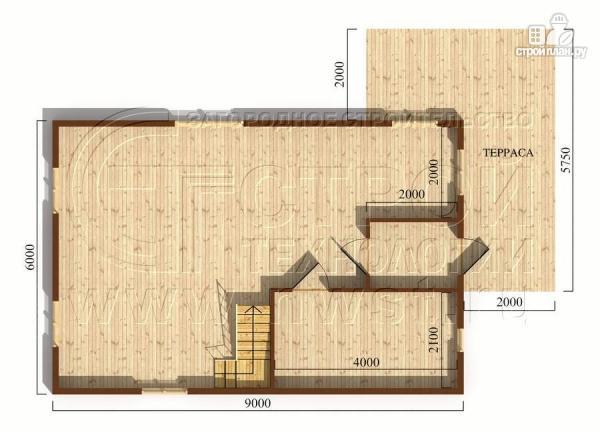 Фото 5: проект дачный дом 6х9 м с мансардой и Г-образной террасой