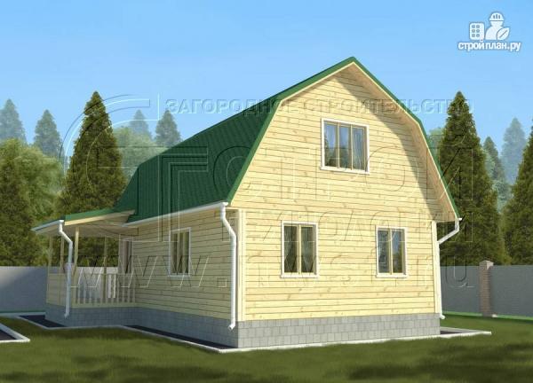 Фото 3: проект дачный дом 6х9 м с мансардой и Г-образной террасой