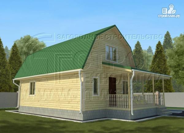 Фото 2: проект дачный дом 6х9 м с мансардой и Г-образной террасой