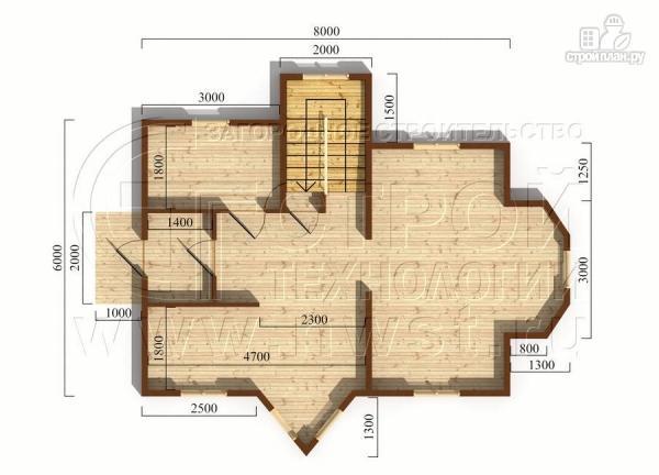 Фото 5: проект загородный дом6х8 м полтора этажа с эркерами и балконом