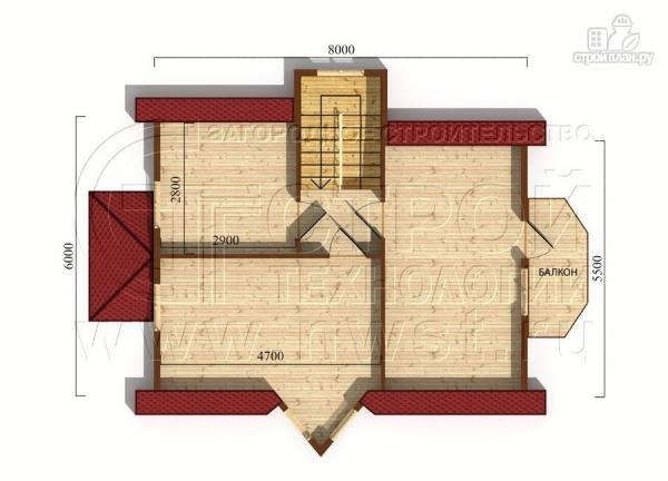 Фото 6: проект загородный дом6х8 м полтора этажа с эркерами и балконом