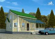 Фото: загородный дом 6х8 м с мансардой и Г-образной террасой