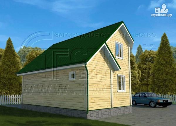 Фото 3: проект загородный дом 6х8 м с мансардой и Г-образной террасой