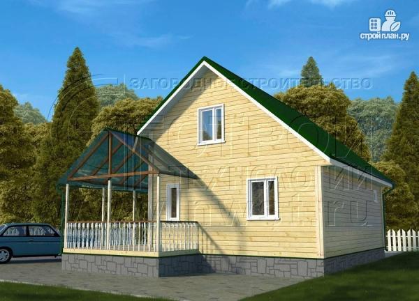 Фото 2: проект загородный дом 6х8 м с мансардой и Г-образной террасой