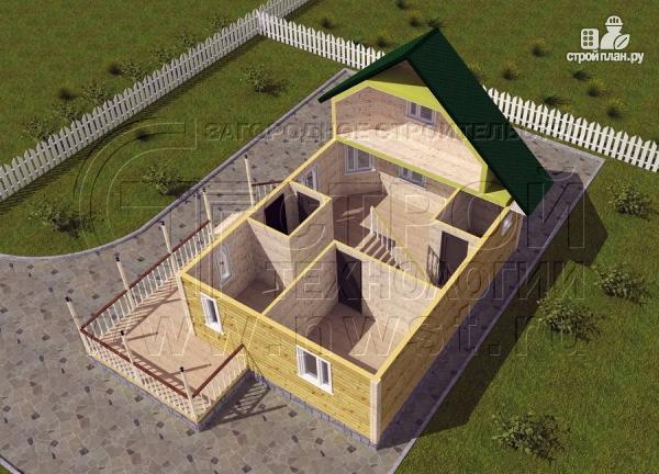 Фото 4: проект загородный дом 6х8 м с мансардой и Г-образной террасой