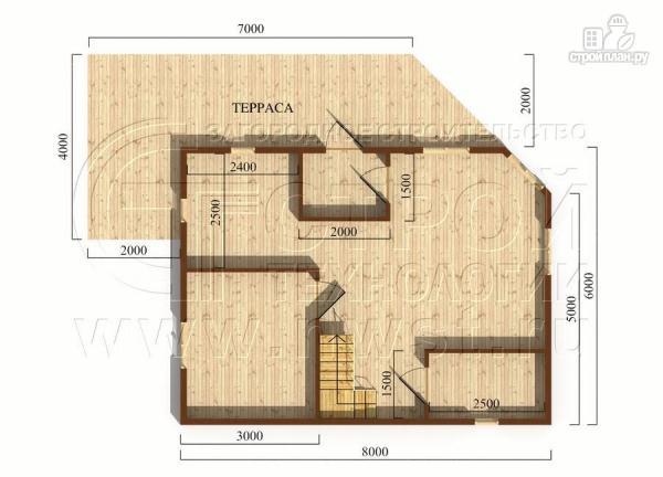 Фото 5: проект загородный дом 6х8 м с мансардой и Г-образной террасой
