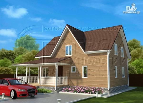 Фото 2: проект загородныйдом 7х10 м с Г-образной террасой 19 м2