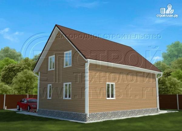 Фото 3: проект загородныйдом 7х10 м с Г-образной террасой 19 м2