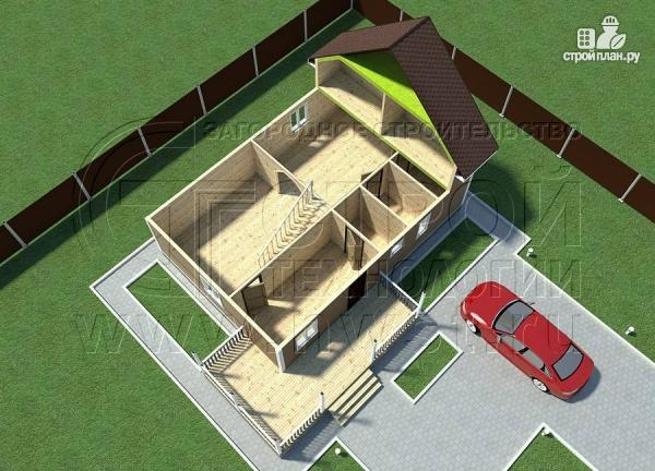 Фото 4: проект загородныйдом 7х10 м с Г-образной террасой 19 м2