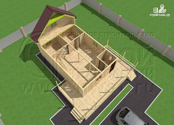 Фото 6: проект дачный дом 6х9 м полтора этажа с террасойибалконом