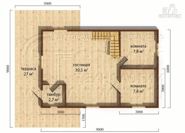 Фото 4: проект дачный дом 6х9 м полтора этажа с террасойибалконом