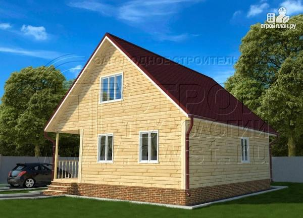 Фото 2: проект дачный дом 6х9 из бруса м с террасой