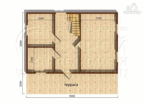 Фото 4: проект дачный дом 6х9 из бруса м с террасой