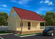 Фото: дачный дом 6х9 из бруса м с террасой