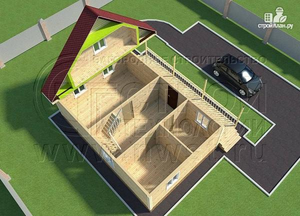 Фото 6: проект дачный дом 6х9 из бруса м с террасой