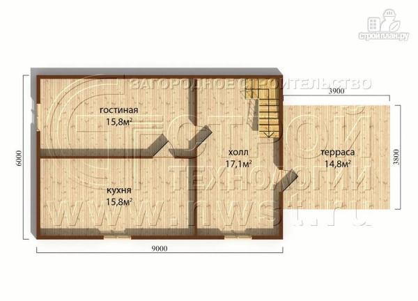 Фото 4: проект дачный дом 6х9 м с террасой 15 м2