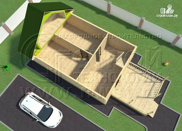 Фото 6: проект дачный дом 6х9 м с террасой 15 м2