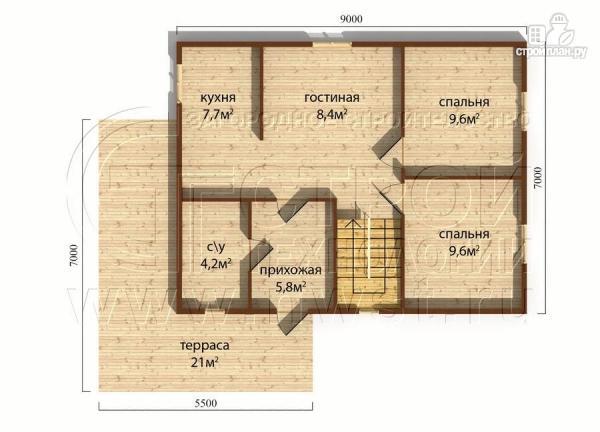 Фото 4: проект коттедж9х7 м полтора этажа с мансардой и террасой 21 м2