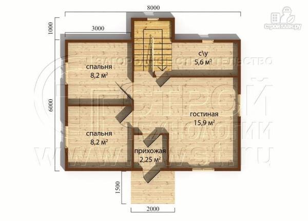 Фото 4: проект дачный дом 6х8 м полтора этажа с крыльцом
