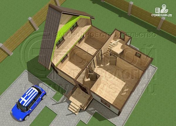 Фото 6: проект дачный дом 6х8 м полтора этажа с крыльцом