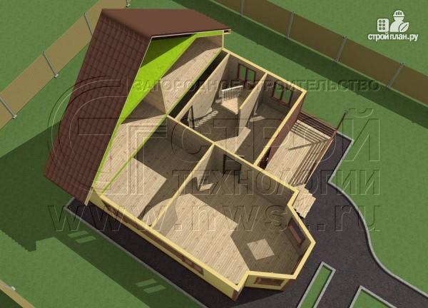 Фото 4: проект коттедж 9х8 м из бруса с эркером, террасой и лоджией