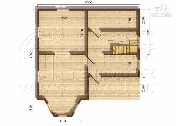 Фото 5: проект коттедж 9х8 м из бруса с эркером, террасой и лоджией