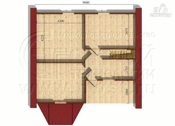 Фото 6: проект коттедж 9х8 м из бруса с эркером, террасой и лоджией