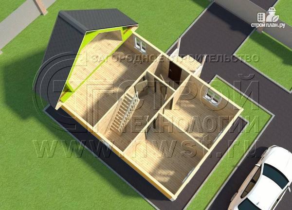 Фото 4: проект дачный дом 6х9 м с мансардным этажом, лоджией