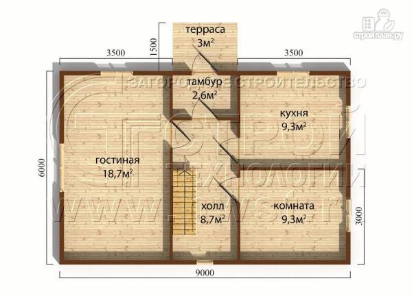 Фото 5: проект дачный дом 6х9 м с мансардным этажом, лоджией