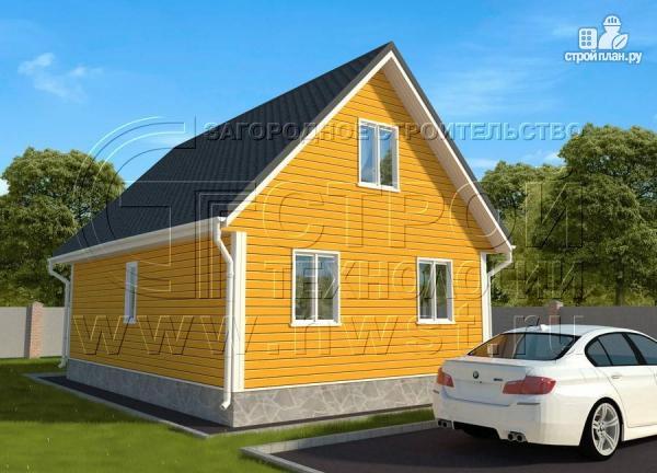Фото 2: проект дачный дом 6х9 м с мансардным этажом, лоджией