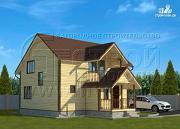 Проект загородныйдом 7х9 м полтора этажа с балконом