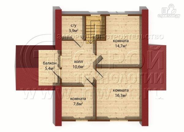 Фото 6: проект загородныйдом 7х9 м полтора этажа с балконом