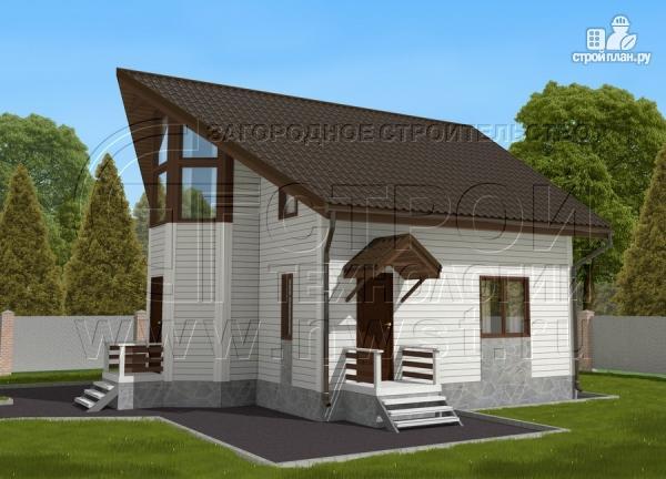 Фото 2: проект загородный дом 7х9 м с мансардой и лоджией в эркере
