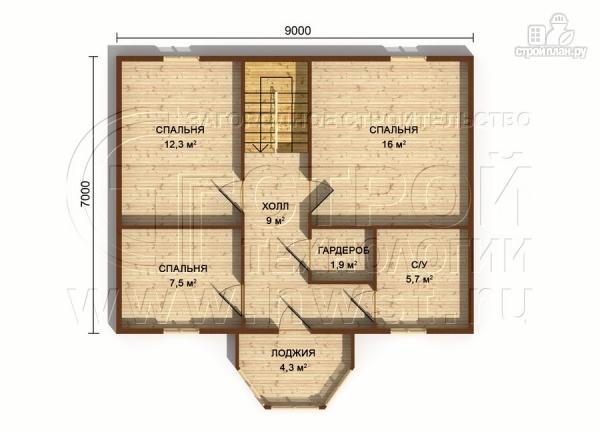 Фото 7: проект загородный дом 7х9 м с мансардой и лоджией в эркере