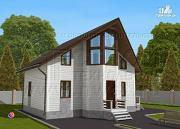 Фото: загородный дом 7х9 м с мансардой и лоджией в эркере