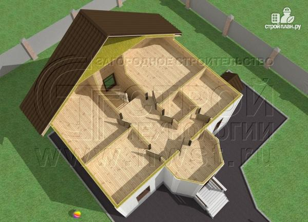 Фото 4: проект загородный дом 7х9 м с мансардой и лоджией в эркере
