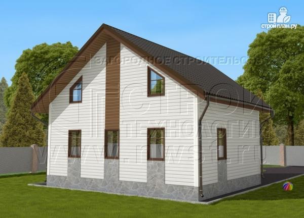 Фото 3: проект загородный дом 7х9 м с мансардой и лоджией в эркере